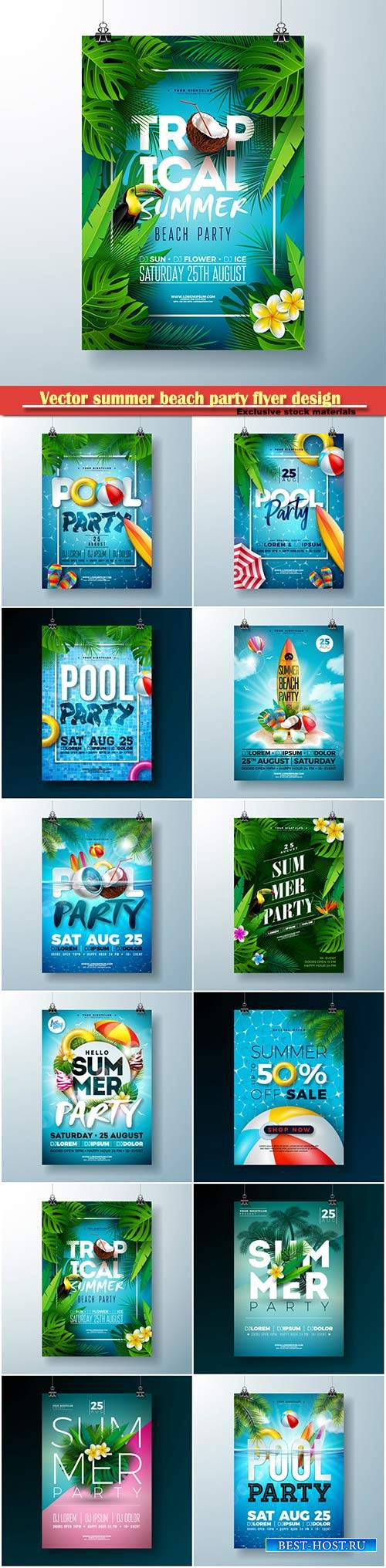 Vector summer beach party flyer design # 3