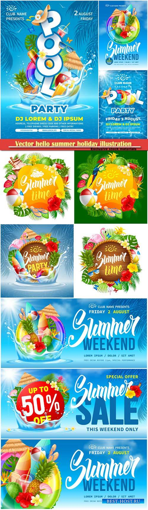 Vector hello summer holiday illustration # 6
