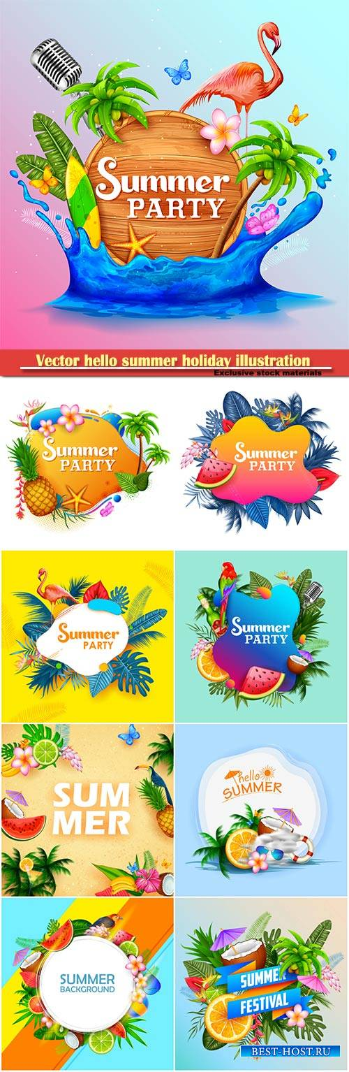 Vector hello summer holiday illustration # 7