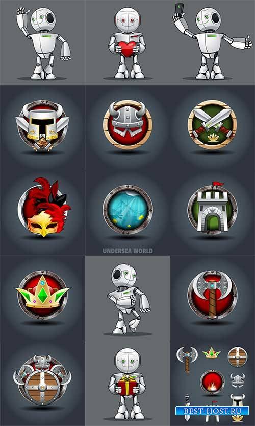 Доспехи рыцарей - Векторный клипарт / Knights armor - Vector Graphics