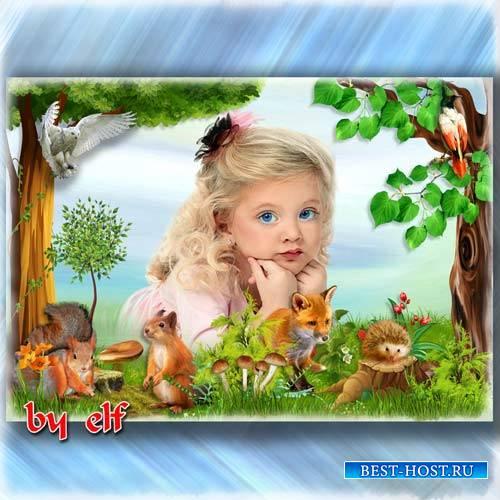Рамка для детских фото - На лесной поляне