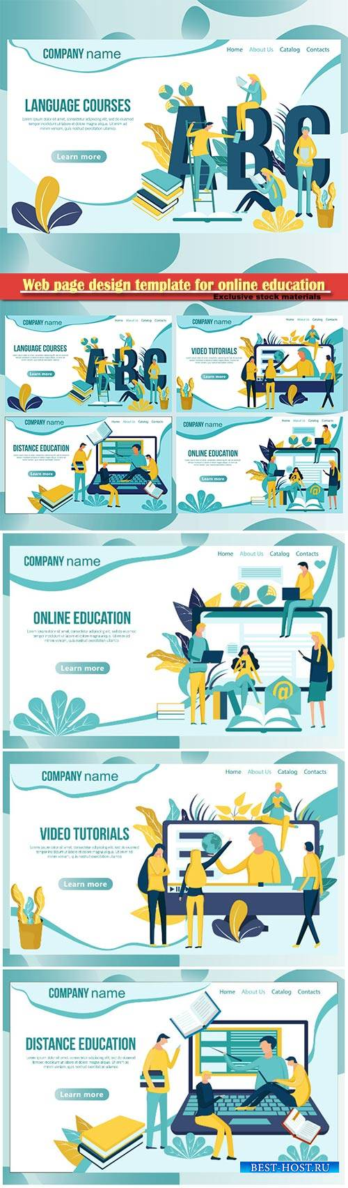 Web page design template for online education vector illustration