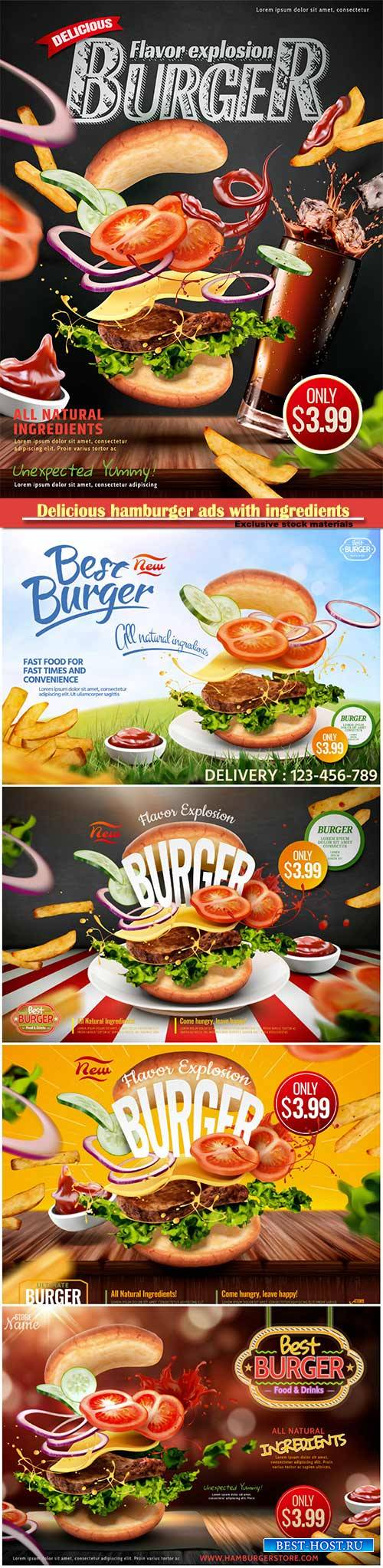 Delicious hamburger ads with ingredients flying in the air on chalkboard ba ...