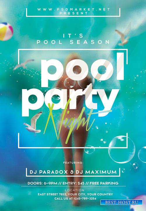 Pool night party - Premium flyer psd template