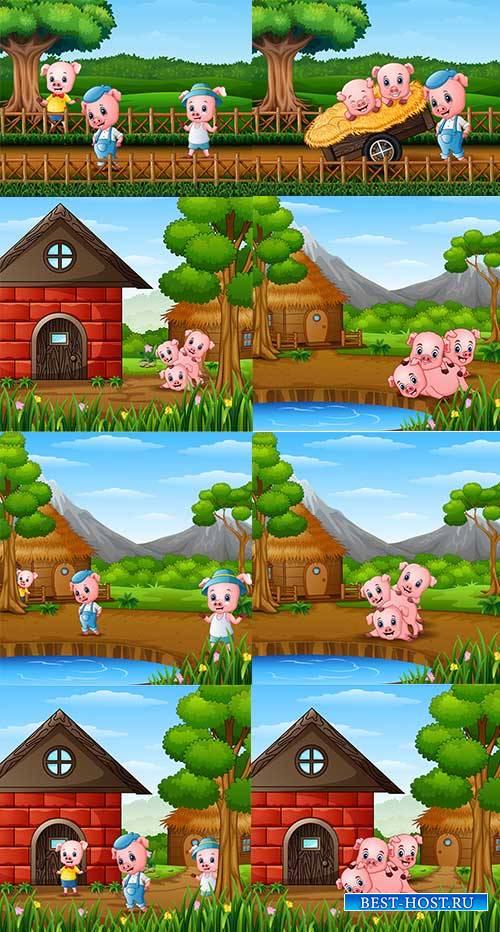 Три поросёнка - Векторный клипарт / Three little pigs - Vector Graphics