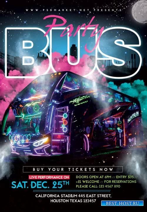 Party bus - Premium flyer psd template