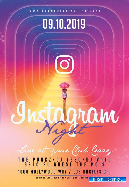 Instagram night flyer - Premium flyer psd template
