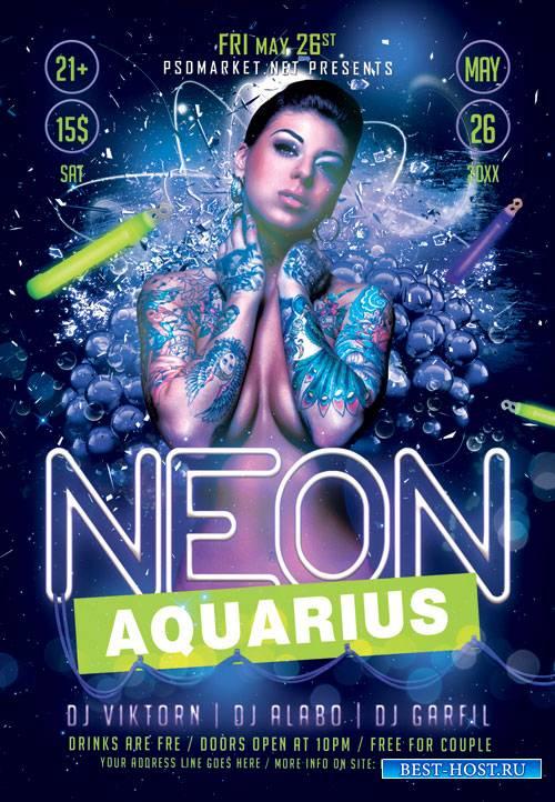 Neon aquarius - Premium flyer psd template