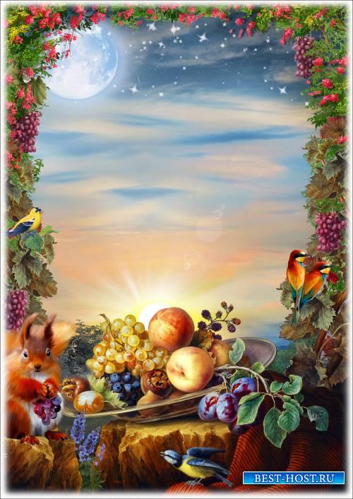 Рамка для Фотошопа - Натюрморт с белкой и фруктами