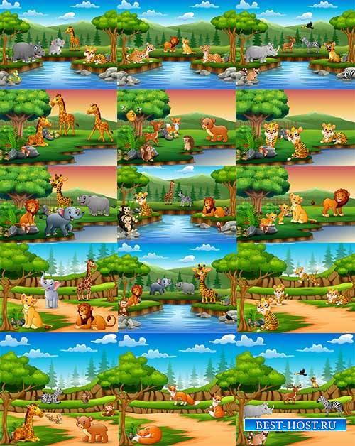 Животные в джунглях - Векторный клипарт / Animals in the jungle - Vector Graphics