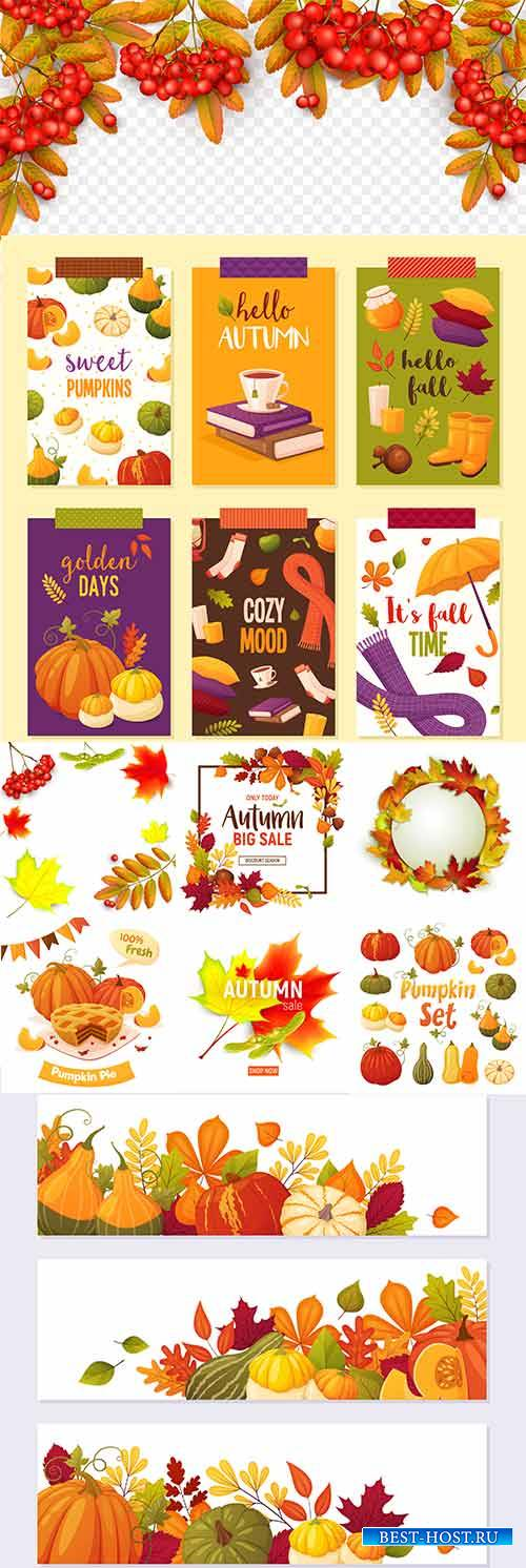Осенние композиции - 6 - Векторный клипарт / Autumn composition - 6 - Vecto ...