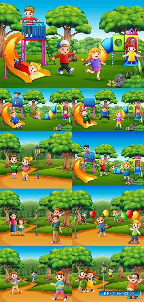 Дети в лесу - Векторный клипарт / Children in the forest - Vector Graphics