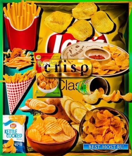 Png клипарты для фоторамки - Картошка фри и чипсы