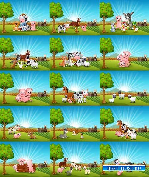 Животные на лугу - Векторный клипарт / Animals in the meadow - Vector Graph ...