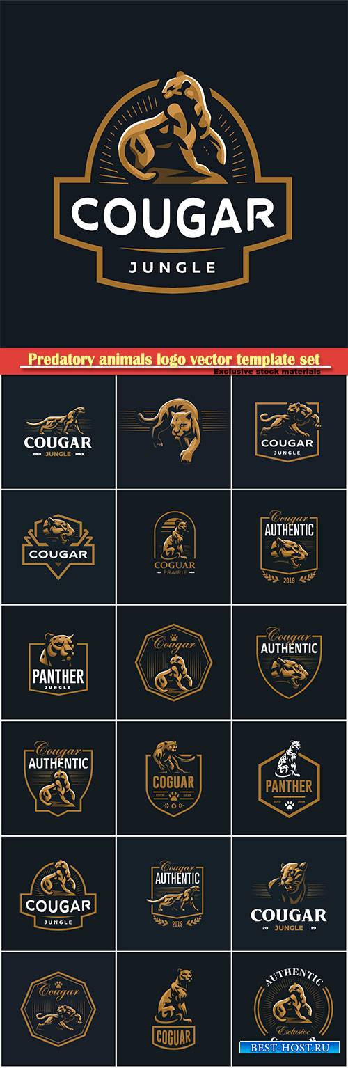 Predatory animals logo vector template set