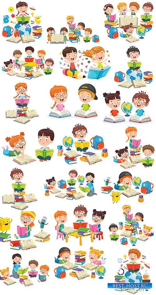 Дети занимаются уроками - Векторный клипарт / Children have lessons - Vector Graphics