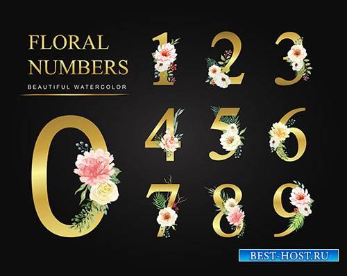 Золотые цифры с цветами - Векторный клипарт / Golden numbers with flowers - Vector Graphics