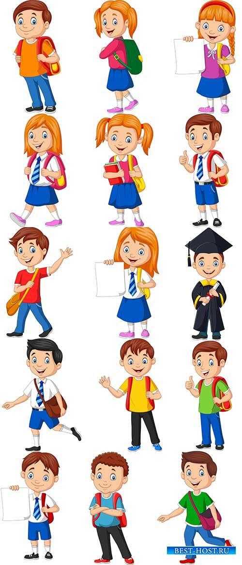 Школьники - Векторный клипарт / Schoolchildren - Vector Graphics