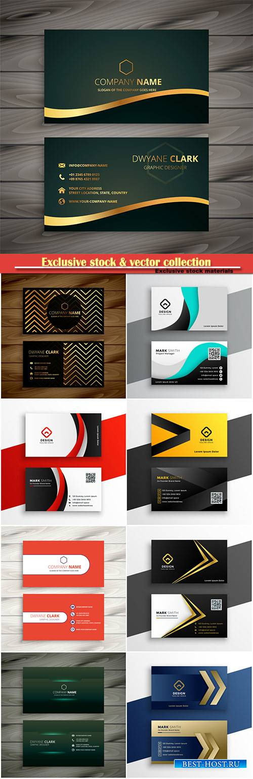 Golden company business card vector design