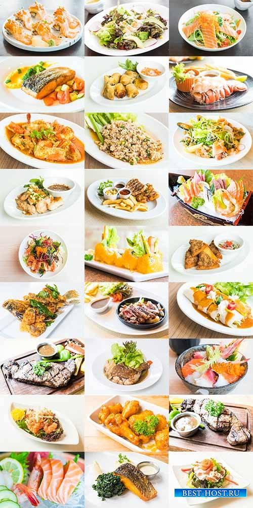 Блюда из мяса и рыбы - Рстровый клипарт / Meat and fish - Raster clipart