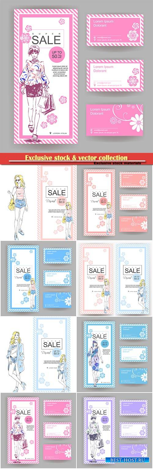 Layout for a big sale in fashion shop with business card, drawn fashion ele ...