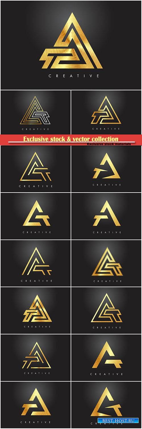 A golden letter monogram design logo, gold letter A icon