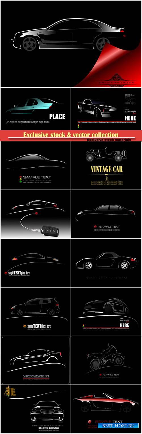 Silhouette of car on black background, vector logo illustration