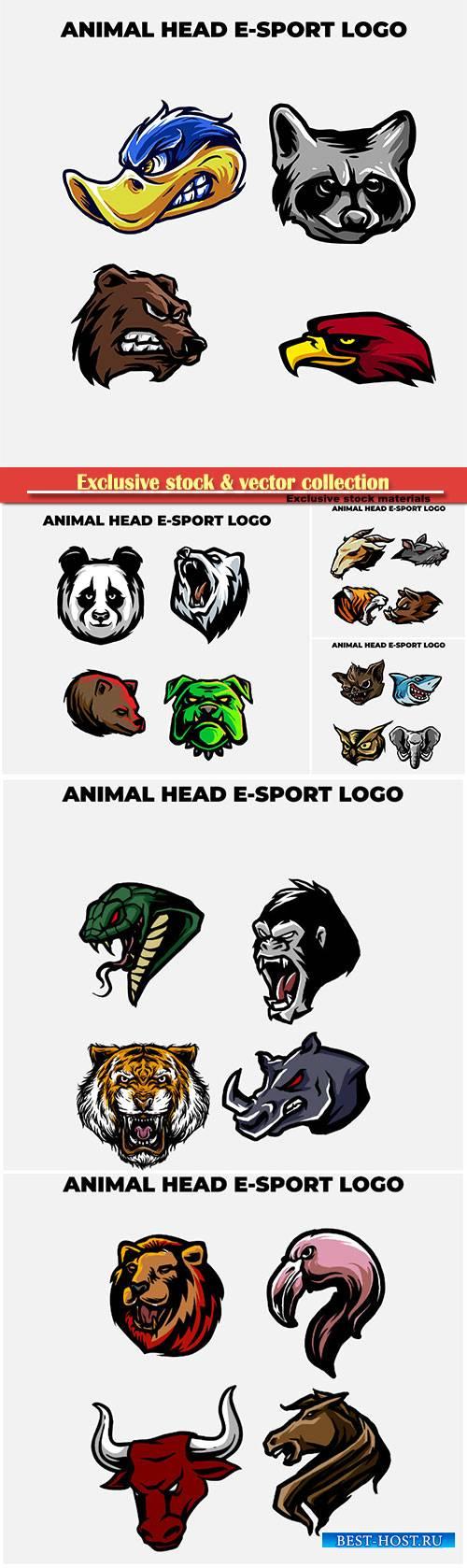 Animal head mascot logo vector