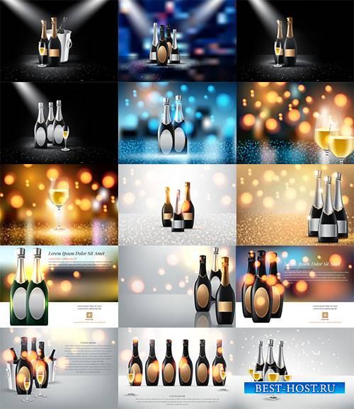Шампанское и вино - Векторный клипарт / Champagne and wine - Vector Graphics
