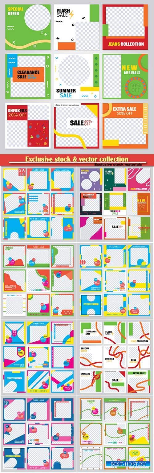 Set of modern card design vector