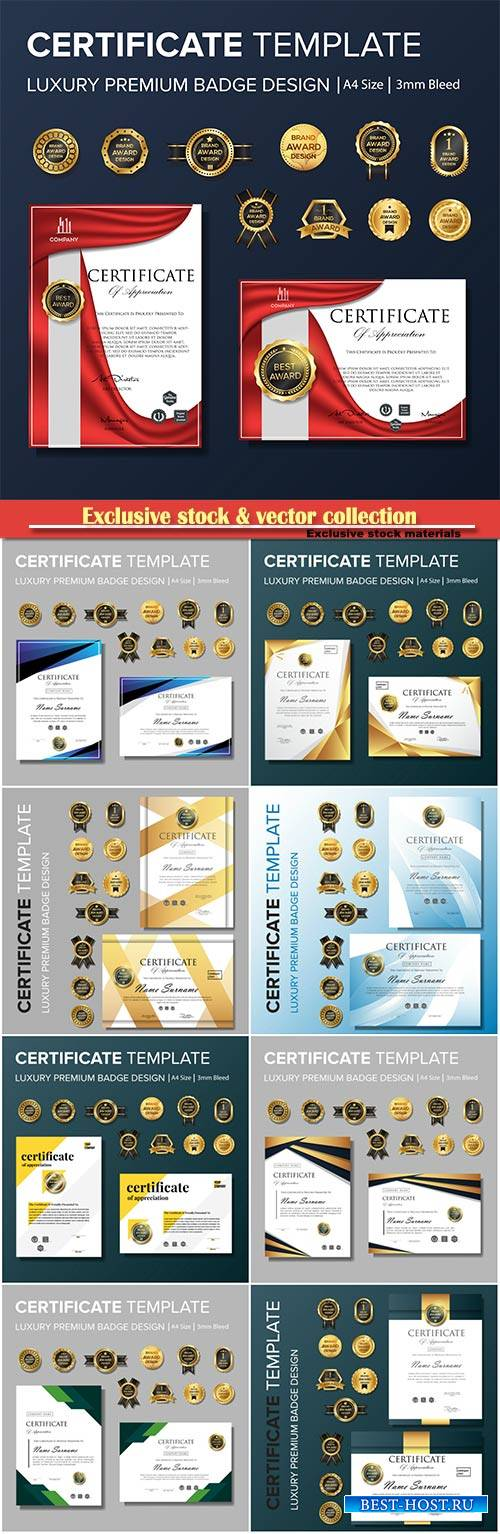Certificate template and diploma vector design illustration
