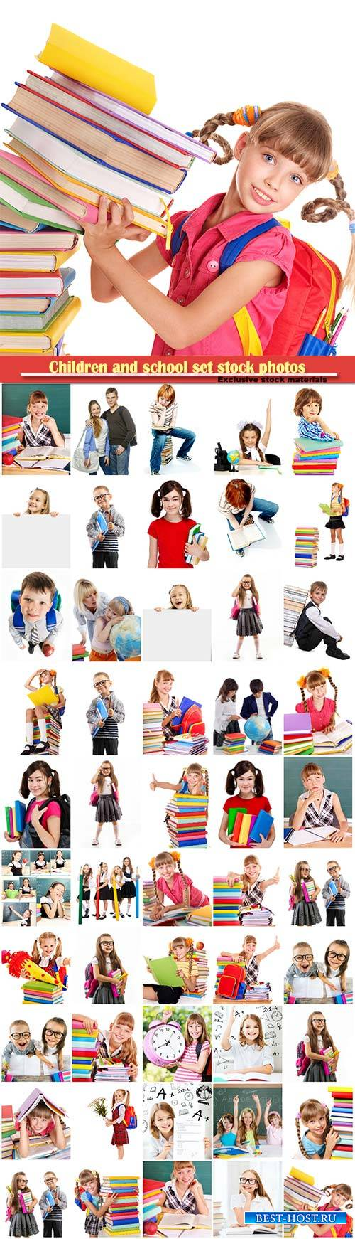 Children and school set stock photos
