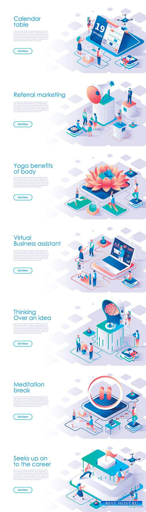Business scheduling isometric landing page vector template # 3