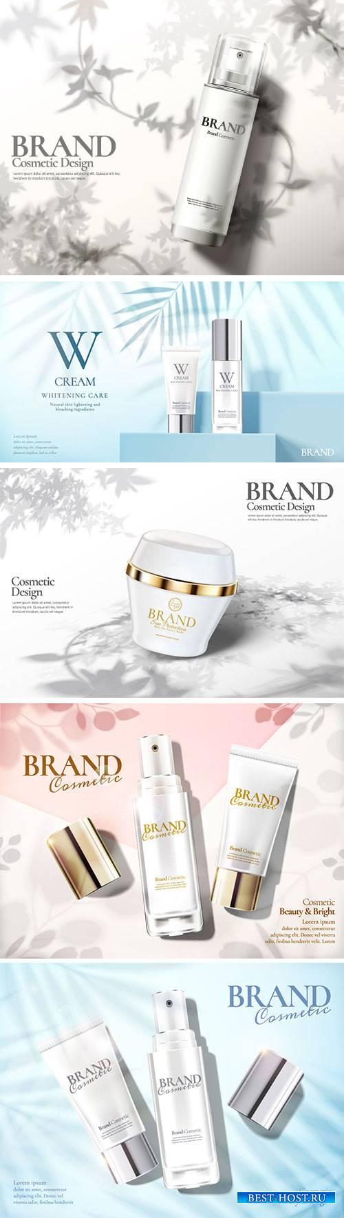 Skin care set ads vector illustration template