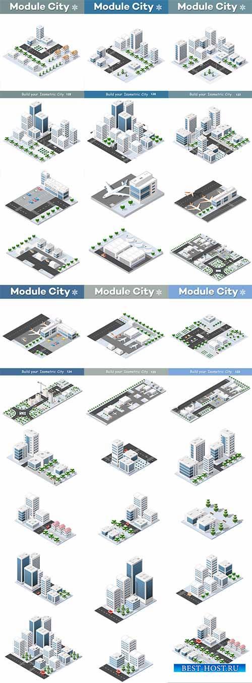Городские кварталы в 3D - Векторный клипарт / City block in 3D - Vector Graphics