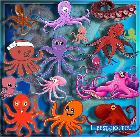 Png клипарты - Веселые осьминоги