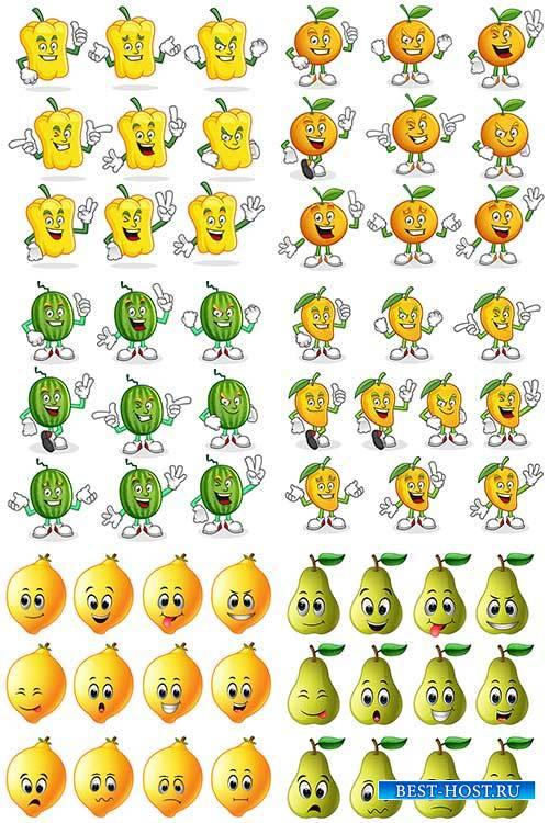Смешные овощи и фрукты в векторе / Funny vegetables and fruits in vector
