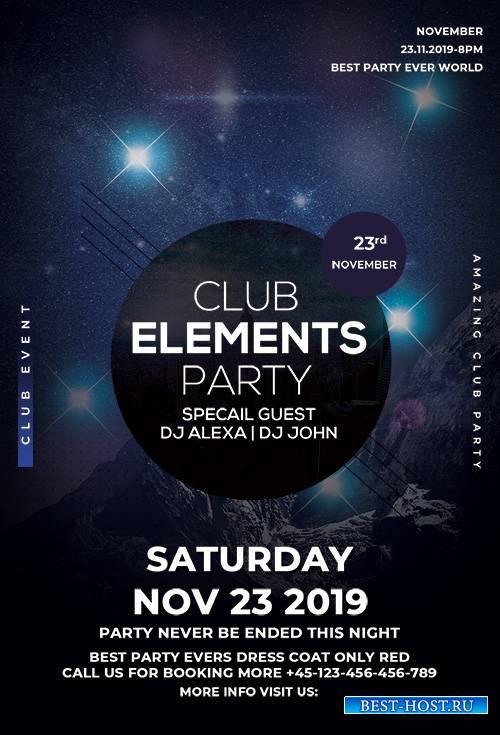 Club Element Party PSD Flyer
