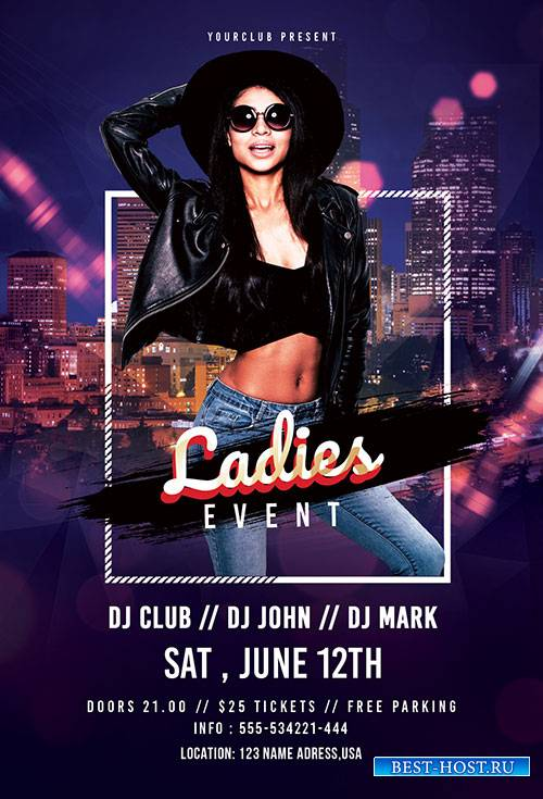 Ladies event psd flyer template