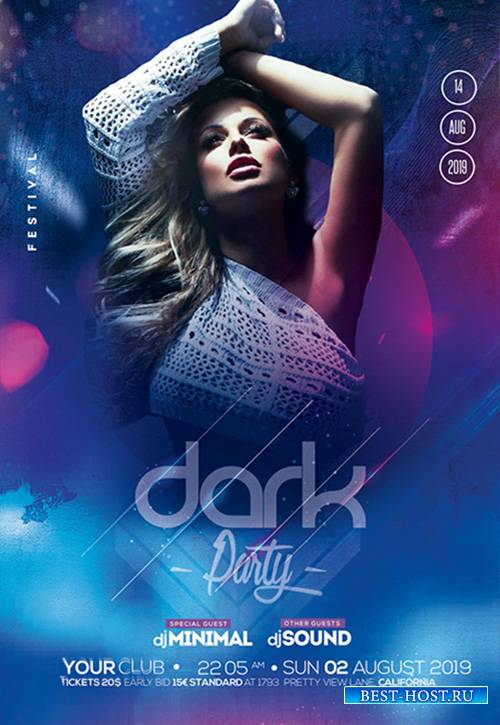 Dark Night Party PSD Flyer Template