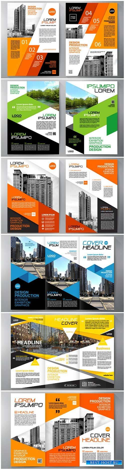 Business brochure flyer design vector template, magazine flyer mockup