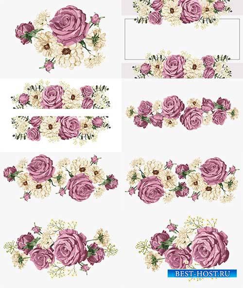 Розовые розы - Векторный клипарт / Pink roses - Vector Graphics