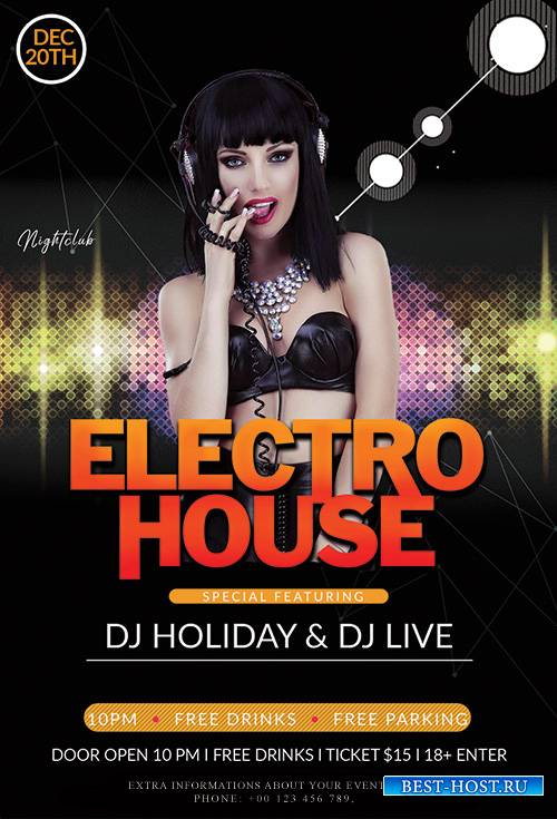Electro House - Premium flyer psd template