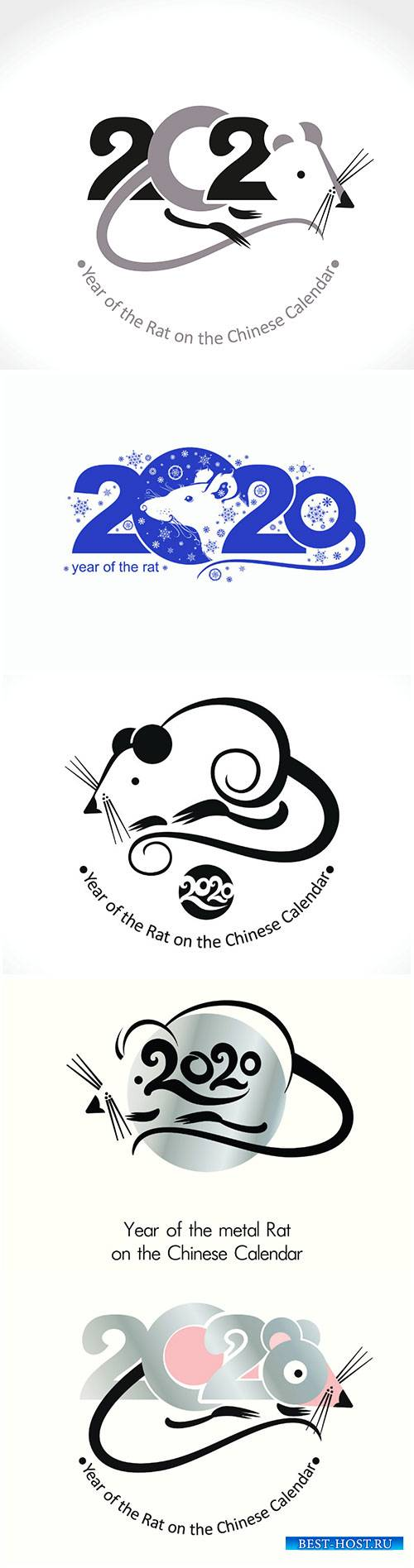 Year of the Rat 2020, vector template New Year's design on the Chinese cal ...
