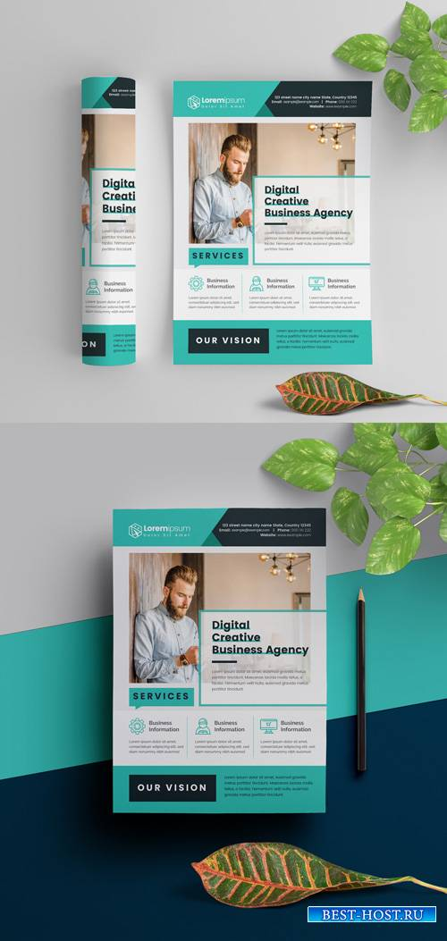 Teal Corporate Flyer Layout 295382688