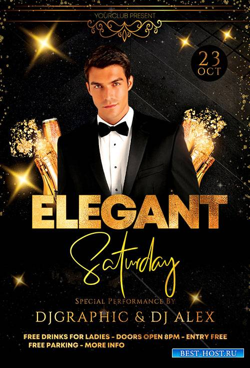 Elegant Saturday Party - Premium flyer psd template