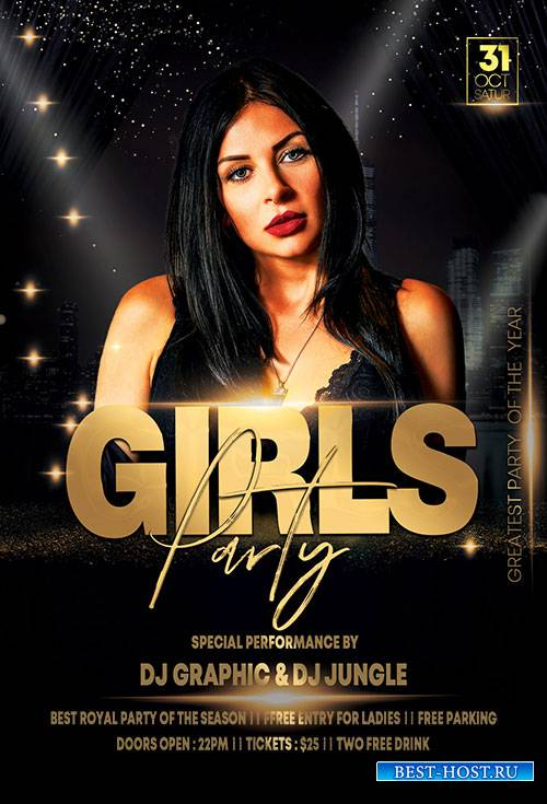 Elegant Girls Party Night - Premium flyer psd template