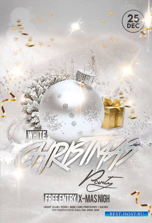 White Christmas Party - Premium flyer psd template