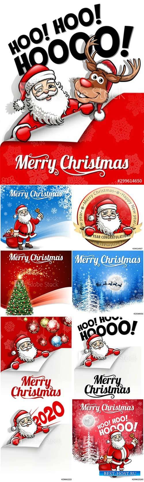 Santa's Christmas snowy greeting, Merry Christmas card