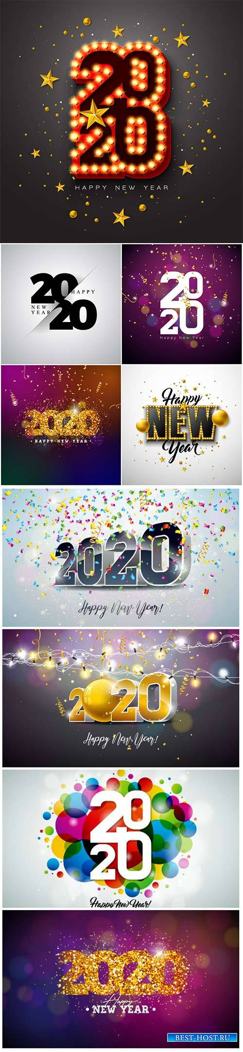 2020 Happy New Year illustration with 3d typography lettering, and